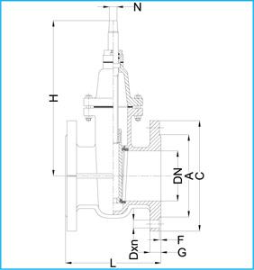 SARACINESCA IN GHISA GRIGIA GG 25 PN 16 - TENUTA METALLICA - CORPO OVALE 107 tech